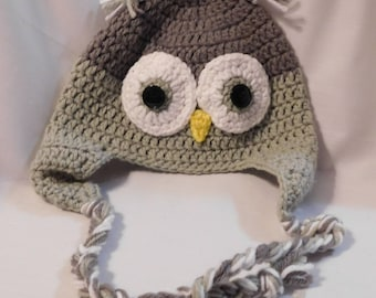 Crocheted Grey Owl Hat For Kids
