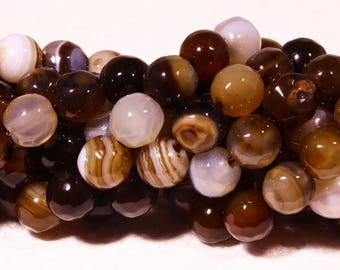 chocolate wrapped faceted agate 6mm 20 beads