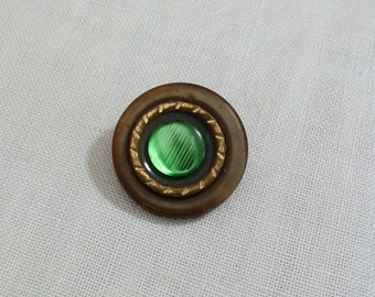Vintage Brown Gold & Iridescent Green Button Brooch