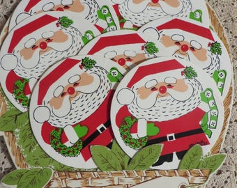 Coasters Vintage Christmas Set of 8 Drink Coasters  //  Cute Display Can be Hung on Wall  //  By Stotter  //  Vinyl with Foam Rubber Backs