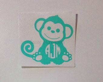 Monogram Monkey Personalized ONE Color Vinyl Decal