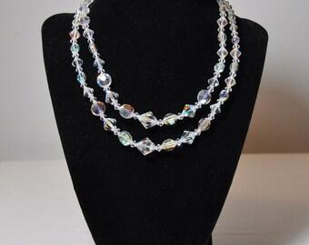 Vintage Aurora Borealis Swarovski Crystal Double Strand Choker
