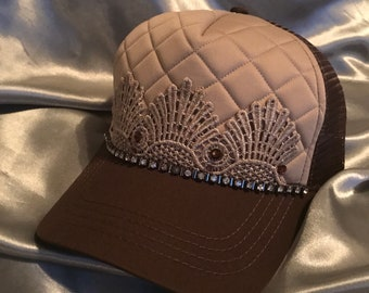 Brown Trucker Hats,Trucker Hats With Lace, Caps, Bling Hats, Womens Hats, Trucker, Black Trucker Hat, Venice Lace, Womens Hat