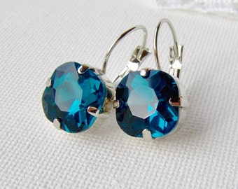Deep blue rhinestone earrings / blue zircon / antique cut square / Gift for her / leverback earrings / teal / blue / girlfriend gift