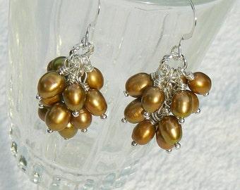 Nutmeg Bronze Freshwater Pearl Cluster Earrings