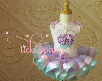 My 1st Birthday Outfit- Cupcake- Lavender purple and aqua- Includes 3D cupcake top and ribbon tutu -  Available in MANY colors