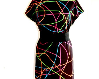 80's NEON DRESS (handmade & custom printed fabric)