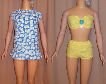 Tiny Yellow Polka Dot Swimsuit and Sundress Coverup for My Size Barbie