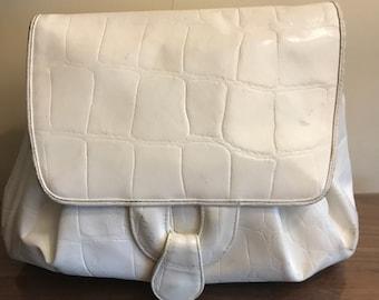 Vintage Leather Crossbody Bag: white leather crossbody bag, leather crossbody, vintage handbag, vintage purse, Susan Gail handbag