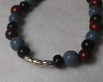 Mens  black, brown and blue bracelet Free shipping!