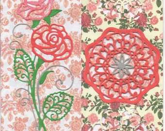 Pink and Red Rose card, Rose card, pink and red card, cards made with Tattered Lace dies,
