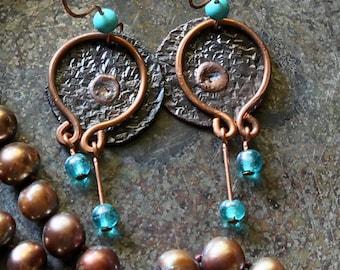 Mixed Metal Earrings, Rustic Hammered Earrings, Boho Earrings, Tribal Earrings, Copper Earrings, Handmade Jewelry, Boho Jewelry, Mom Gifts