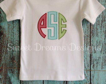 Appliqued 3 Initial Monogrammed Tee - your choice of fabrics