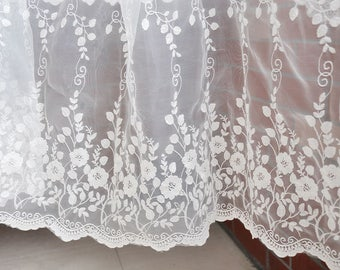 """51"""" Width Floral Embroidery Lace Fabric by the Yard"""