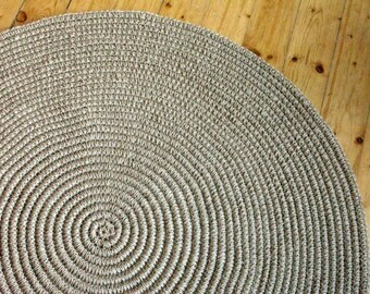 "36 in Crochet jute circle rug / 36"" / 100% naturals materials"