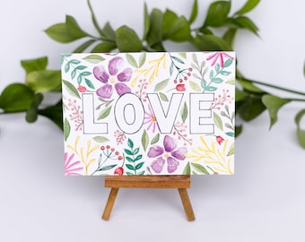 LOVE Floral Blocking Watercolor Illustration Print