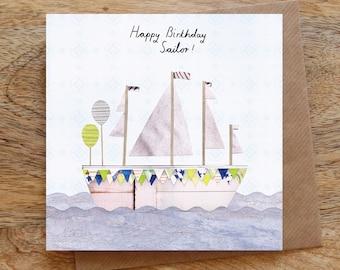 nautical notecard sailboat notecard blank card envelope