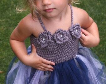 Crochet Dress Pattern: 'Robin Dress', Flower Girl, Princess Tutu, 18-36mo