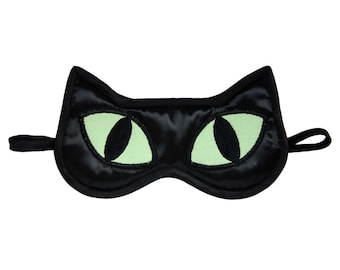 Black Cat Sleep Mask, Cat lover gift, Animal Totem Eye Mask, Black satin catnap eye pillow, Neon celadon sleeping face, Cosplay gift for her