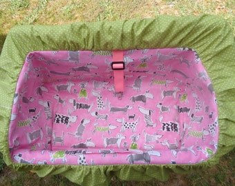 """Pet Shopping Cart Cover""""Doggies on Pink """" Ready to Ship"""
