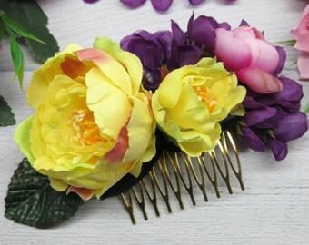 Wedding hair pieces Flower comb Floral rustic comb Flower girl headpiece Flower fascinator Wedding clip floral Hair bride flower Boho bridal