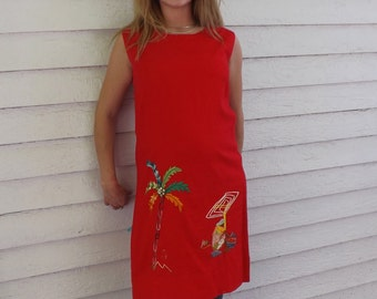Sleeveless Red Dress 60s Vintage Summer Vacation Tropical M