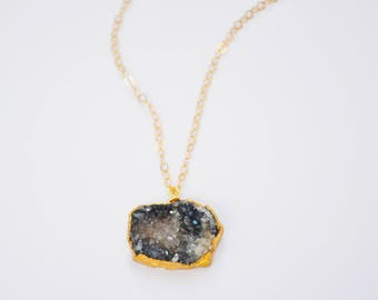 Gold Stone Necklace with Druzy, 14kt Gold Fill, Druzy Necklace, Gold Druzy Pendant, Everyday Necklace