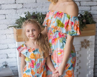 Matching Off shoulder Jumpsuits Light Blue Baby Mommy Jumpsuits, Mom and Me Pajamas, Floral pattern, Twinning, Mommy baby matching, Mini me