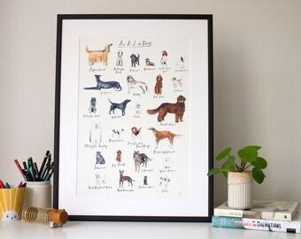 An A-Z of Dogs (unframed print)