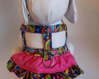 Dog Harness - Dog Clothes - Custom Dog Harness - Packed Paisley on Black Ruffle - Dog Apparel -  Dog Dress - Small Dog Harness