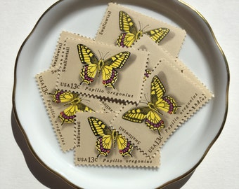 10 Unused Vintage Postage Stamps USPS // Swallowtail Butterfly // 13 cents // 1977 // No. 1712