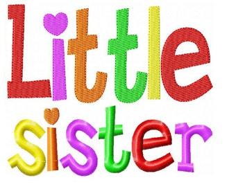 Little Sister Embroidery Design INSTANT download