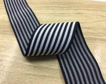 2 inch (50 mm ) Wide Colored Black and White Thin Striped Elastic Band, Waistband Elastic, Sewing Elastic-1 Yard 91010