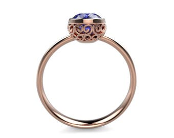 Sapphire Rose Gold Ring Rose Gold Sapphire Engagement Ring Sapphire Ring Sapphire in Rose Gold Rose Gold Sapphire Ring December Birthstone