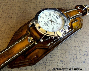 Tobacco Brown Leather Cuff Watch, Wrist Watch, Leather Men's watch, Leather Cuff, Bracelet Watch, Watch Cuff