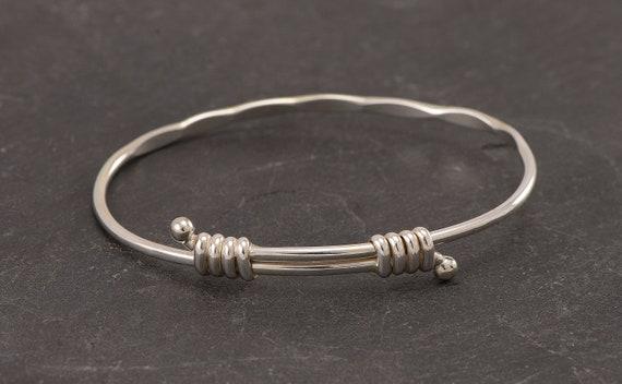 Sterling Silver Bangle Bracelet- Adjustable Bangle with Balls- Expandable Silver Bracelet- Handmade bangle bracelet