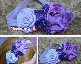 Light Purple and Lavender Satin Flower with Purple Butterfly Headband for Babies/Little Girl/Adult. Everyday Headband. Photography Props