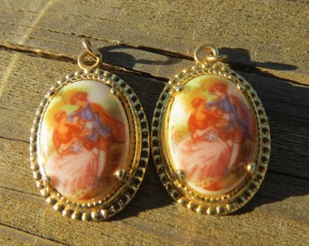 Two Vintage Cameo Style Pendants with Colonial Couple For Jewelry Project
