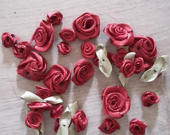 Pink satin flowers