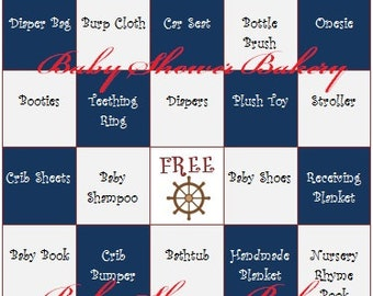 Nautical Baby Shower Game, Nautical Baby Shower Bingo, Nautical Baby Gift Bingo, Printable Nautical Baby Shower Theme, Instant Download