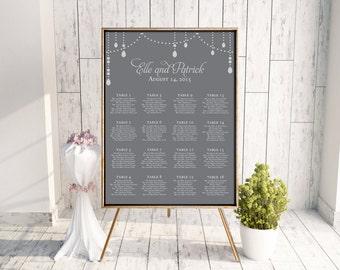 Wedding Seating Chart (Dangle) - Digital File, Decor, pdf, Printable, Chandelier, Crystal, Sparkle, Calligraphy, Gray, Silver, Customizable