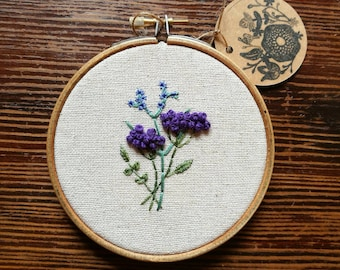 Hand Embroidered Hoop - 4 inch hoop - Purple and Blue Flowers