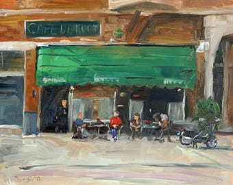 """Oil painting cityscape, """"At the cafe"""", 24x30 cm, oil on panel"""