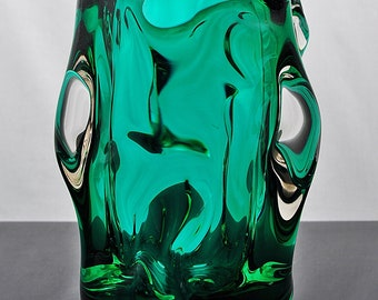 Knobbly Vase Emerald Green – Czech or Murano?