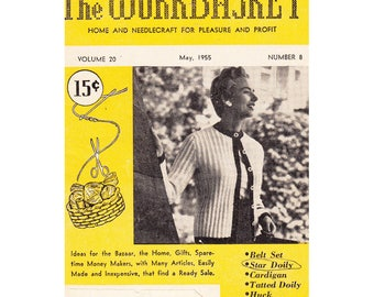 The WorkBasket Home and Needlecraft May 1955 Volume 20 Issue Number 8 Belt Set/Star Doily/Cardigan Pattern/Huck Weaving/Tatted Doily More