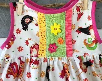 Baby Girl Dress, Chicken Dress,  Farm Girl Dress, OOAK Baby Girl Dress,