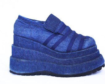Denim Platforms . 1990s Denim Platform Shoes Jean Platforms Jean Platform Shoes Platform Sneakers