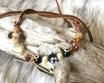 Beaded, lampwork, wire and leather tie necklace, ren fair, boho