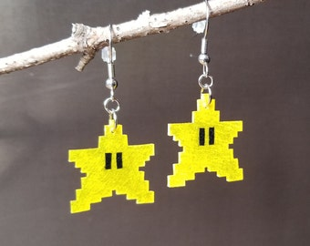 Super Mario Invincible Stars - Shrinky Dink Earrings