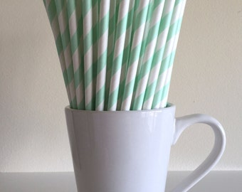 Mint Green Striped Paper Straws Mint Party Supplies Party Decor Bar Cart Cake Pop Sticks Mason Jar Straws  Party Graduation